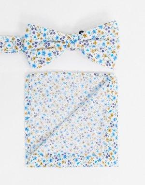 Галстук-бабочка и платок для пиджака -Голубой Ben Sherman
