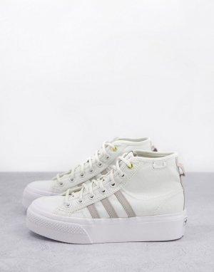 Бело-серые высокие кроссовки на платформе Nizza-Белый adidas Originals