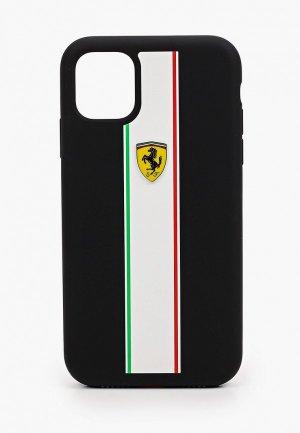 Чехол для iPhone Ferrari 11, On-Track Silicone case Stripes Black. Цвет: черный