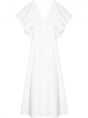 Платье с объемными рукавами Carolina Herrera. Цвет: белый