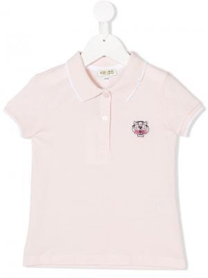 Рубашка-поло с заплаткой логотипом Kenzo Kids. Цвет: розовый