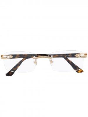 Очки CT0287O без оправы Cartier Eyewear. Цвет: коричневый