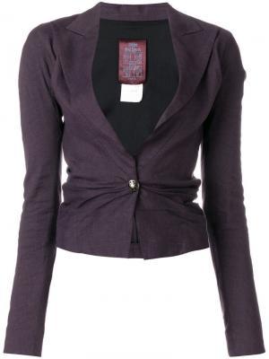 Приталенный пиджак с драпировкой John Galliano Vintage. Цвет: фиолетовый