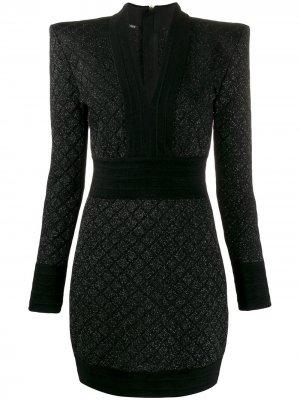 Вязаное платье мини Balmain. Цвет: черный