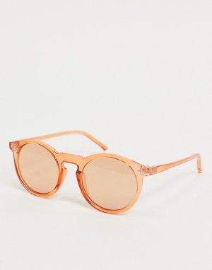 Оранжевые круглые солнцезащитные очки -Оранжевый цвет ASOS DESIGN