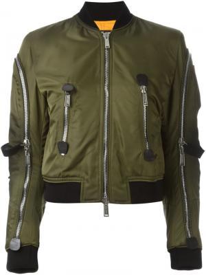Куртка-бомбер с ремешками Dsquared2. Цвет: зеленый