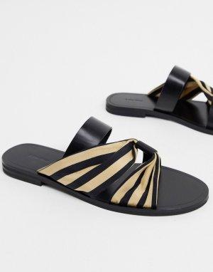 Черные кожаные сандалии с тканевым ремешком в полоску -Черный & Other Stories