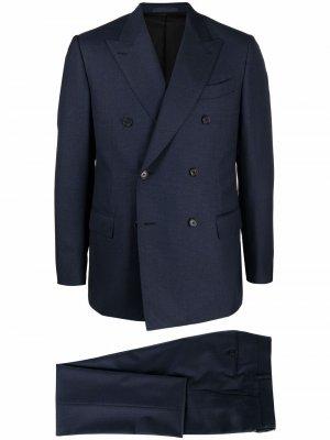 Костюм-двойка с двубортным пиджаком Caruso. Цвет: синий