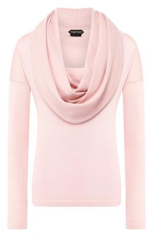 Однотонный кашемировый пуловер с объемным воротником Tom Ford. Цвет: светло-розовый