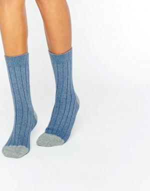 Синие кашемировые носки колор блок в рубчик of Elgin Johnstons. Цвет: синий