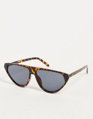 Солнцезащитные очки с треугольными линзами в зеленой черепаховой оправе -Коричневый цвет Jeepers Peepers