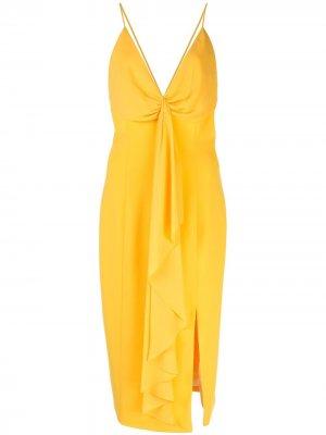 Платье с разрезом спереди и драпировкой Jay Godfrey. Цвет: желтый