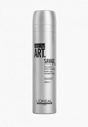 Спрей для укладки LOreal Professionnel L'Oreal сухой Tecni.Art Savage Panache сильной фиксации с пудровой текстурой, 250 мл. Цвет: прозрачный