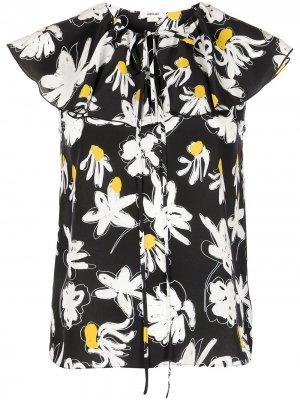 Блузка без рукавов с цветочным принтом Jason Wu. Цвет: черный