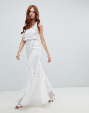 ff57a4a5195 Декорированное свадебное платье 2 в 1 цвета слоновой кости Amelia Rose. Цвет   белый
