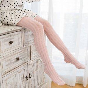 Колготки в полоску для девочек SHEIN. Цвет: розовые