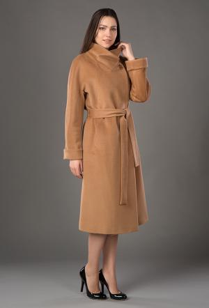 Демисезонное женское кашемировое пальто с поясом Bella Bicchi. Цвет: кэмел