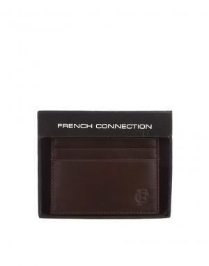Кожаная визитница French Connection. Цвет: коричневый