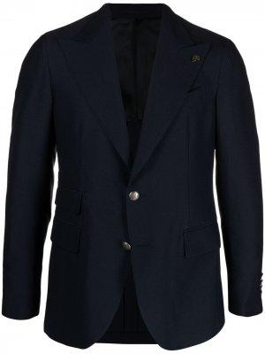 Пиджак с узором шеврон Gabriele Pasini. Цвет: синий