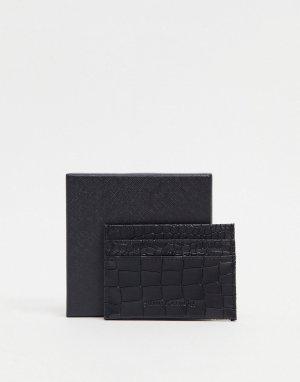 Черная кредитница с крокодиловым принтом Smith & Canova-Черный цвет And Canova