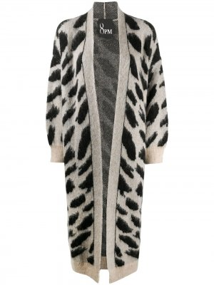Длинное пальто-кардиган с анималистичным принтом 8pm. Цвет: нейтральные цвета