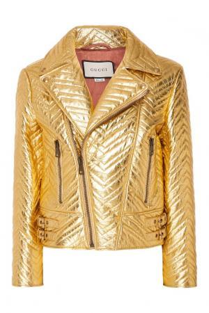 Золотистая кожаная куртка косого кроя Gucci. Цвет: multicolor