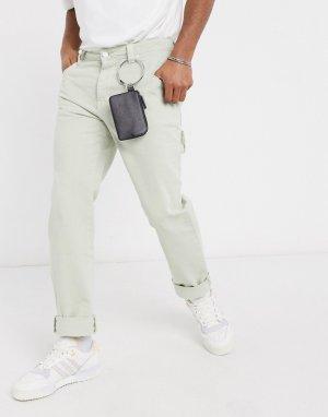 Черный кожаный кошелек на молнии с кольцом для ремня -Черный цвет ASOS DESIGN