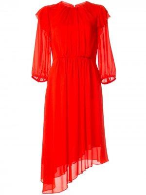 Платье миди Georgette асимметричного кроя CK Calvin Klein. Цвет: оранжевый