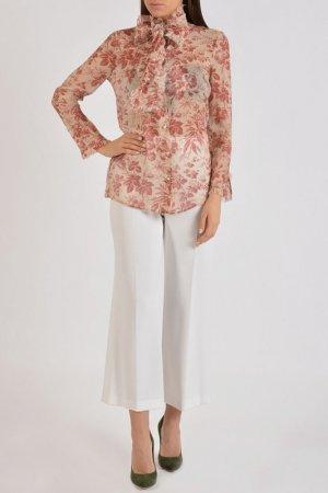 Блузка Gucci. Цвет: белый/бордовый