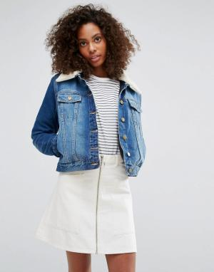 Джинсовая куртка с воротником из искусственной овечьей шерсти -Синий Brave Soul