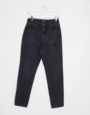 Черные джинсы в винтажном стиле с завышенной талией -Черный Vero Moda