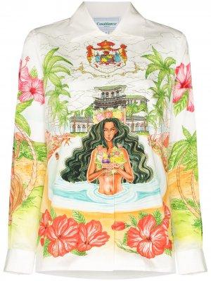 Рубашка Kamehameha на пуговицах Casablanca. Цвет: белый