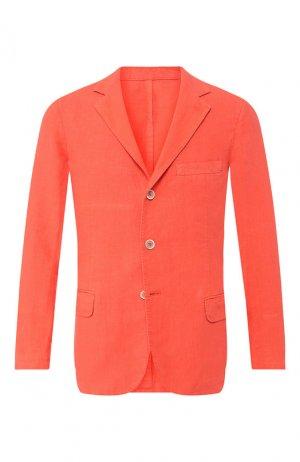 Льняной пиджак 120% Lino. Цвет: коралловый