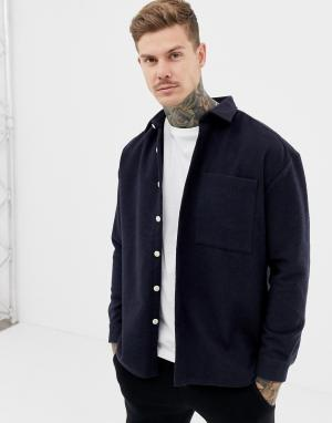 95c4c8e483e Темно-синяя рубашка навыпуск с добавлением шерсти ASOS DESIGN. Цвет  темно- синий