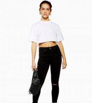 Черные зауженные джинсы со рваной отделкой Petite Jami-Черный цвет Topshop