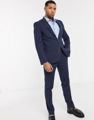 Темно-синий приталенный пиджак с цепочкой Shelby & Sons