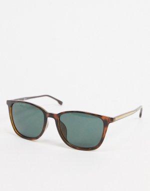 Коричневые солнцезащитные очки в квадратной оправе Hugo Boss-Коричневый цвет BOSS