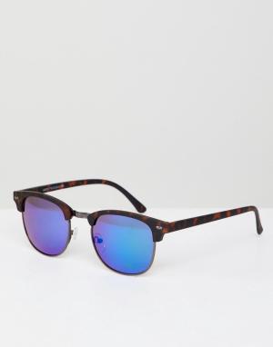 Квадратные солнцезащитные очки с зеркальными стеклами в черепаховой оправе New Look. Цвет: синий