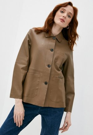 Куртка кожаная Weekend Max Mara SALMONE. Цвет: коричневый