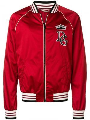 Куртка-бомбер на молнии с логотипом Dolce & Gabbana. Цвет: красный