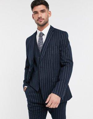 Фланелевый пиджак в полоску узкого кроя -Темно-синий French Connection