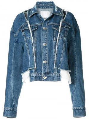 Джинсовая куртка с прорезями и приспущенными плечами Ground Zero. Цвет: синий