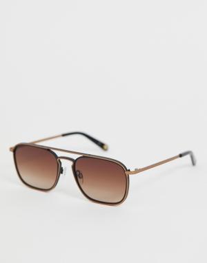 Золотисто-черные солнцезащитные очки в квадратной оправе Ted Baker. Цвет: черный