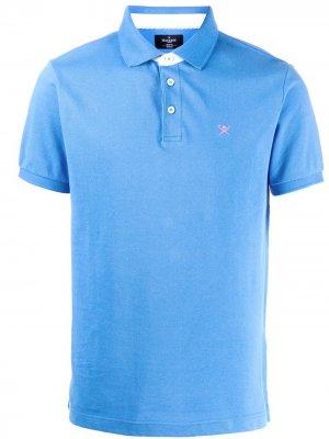 Рубашка-поло с вышитым логотипом Hackett. Цвет: синий