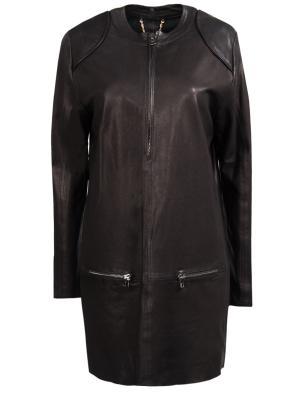 Кожаная куртка SLY. Цвет: черный