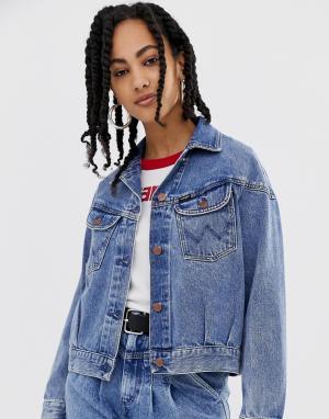Джинсовая куртка в стиле 80-х Wrangler. Цвет: синий