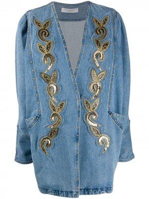 Декорированная джинсовая куртка оверсайз Philosophy Di Lorenzo Serafini. Цвет: синий