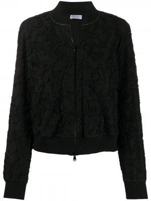 Куртка-бомбер с цветочной вышивкой Brunello Cucinelli. Цвет: черный