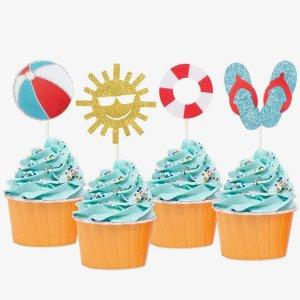 12шт Топпер для торта пляжной вечеринки SHEIN. Цвет: многоцветный