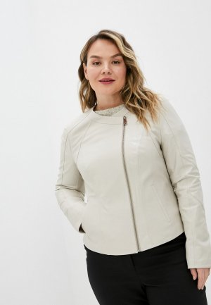 Куртка кожаная Le Monique RDK370LS20. Цвет: бежевый
